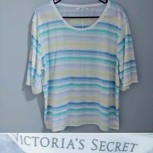 Victoria's Secret striped sheer scoop flowy tee